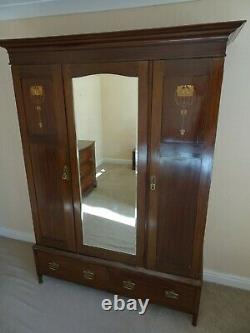 Large antique Inlaid Mahogany Arts & Crafts wardrobe with mirror and drawers