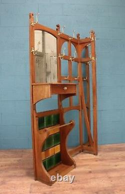Large arts and crafts oak hall stand (100285)