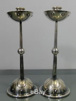 Leuchterpaar, WMF, Geislingen, Jugendstil, versilbert, sehr selten, Art and Crafts