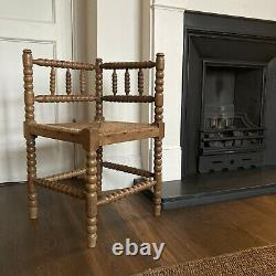 Liberty Style Arts and Crafts Bobbin Turned Corner Fireside Chair