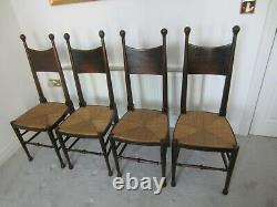 Liberty and Co William Birch, set of four Oak Arts and Crafts dining chairs