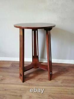 Liberty and co C. 1900 Mahogany Arts and Crafts Side / Lamp table with pierced he