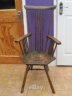Liberty`s beech Arts and Craft chair hexagonal seat, splayed legs