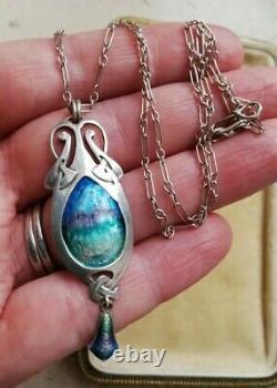 MURRLE BENNETT 1900 Arts and Crafts silver enamel Celtic pendant, original chain
