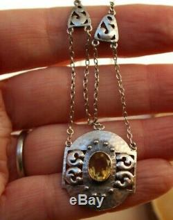 MURRLE BENNETT & Co c1910 signed Arts and Crafts 950 silver citrine necklace