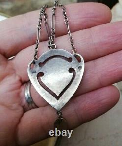 MURRLE BENNETT c1900 Arts and Crafts silver, gold, pearl heart festoon necklace