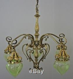 Magnificent Arts And Crafts Brass Chandelier With Vaseline Shades Was Benson