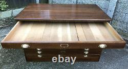 Massive Rare Solid Oak Arts And Crafts Antique 8 Drawer Plan Artists Chest