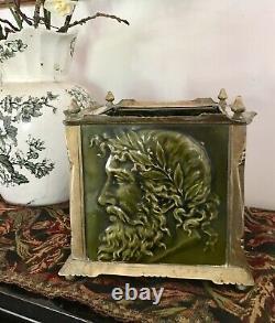 Minton Majolica Tiles Arts And Crafts Brass Jardiniere Greek Gods & Birds