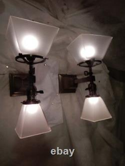 Mission Arts and Crafts Gas & Electric Combination Brass Sconces Etched Shades