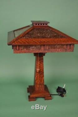 Mission Arts and Crafts Style Quarter Sawn Oak Tall Table Lamp Mica Shade Panels