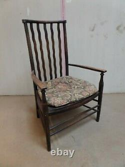 Morris and Co. Arts and Crafts Chair. Lath Back, Elbow Chair