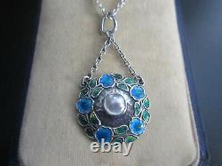 Murrle Bennett & Co Arts & Crafts Jugendstil Silver Enamel Pendant Necklace