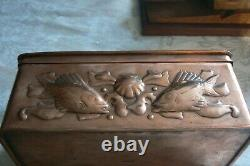 Newlyn Arts And Crafts Copper Box Decorated With Boats, Fish & Shells Circa 1910