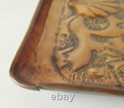 Newlyn School Fish Seaweed Tray Cornwall Arts & Crafts Copper Antique Metalware