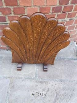 Oak Art and Crafts coal scuttle and matching fire screen