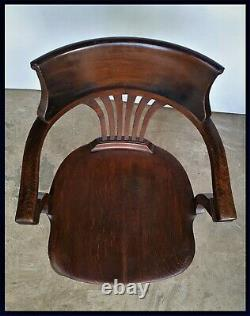 Oak Arts And And Crafts / Art Deco Office Desk Armchair