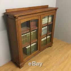 Oak Arts And Crafts Glazed Bookcase