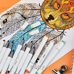 Ohuhu 48 Pieces Colorful Art Markers Twin Tip Brush and Chisel Set for Kids Arti