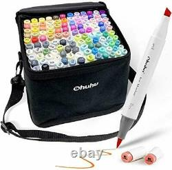 Ohuhu Twin Tip Art Markers Brush and Chisel Set for Kids 120 Piece