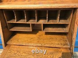 Old oak Arts and Crafts desk Art Nouveau student storage