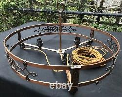 Original Antique Arts and Crafts Gothic Copper Hanging 3 x Light Chandelier