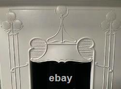 Original Art Nouveau Arts and Crafts cast iron Combi Fireplace painted complete