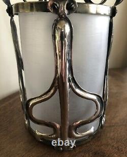 Original Arts And Crafts / Art Nouveau Silvered Pendant Light Lant Lamp C1910