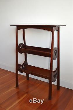 Original Arts and Crafts solid mahogany book stand bookcase rack with cut outs