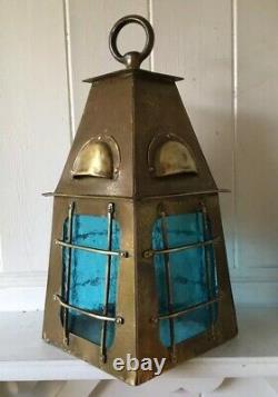 Original Vintage Arts And Crafts Brass Lantern With Blue Glass (Needs Wiring)