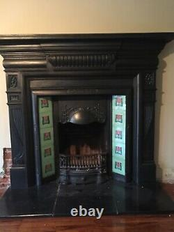 Outstanding Antique Arts And Craft Cast Iron Fireplace With Antique Tiles