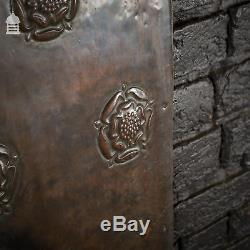 Pair 19th C Arts and Crafts Copper Fire Sides with Rose Detail
