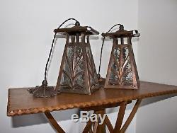 Pair Antique Art Nouveau Arts And Crafts Hand Hammered Copper Lanterns