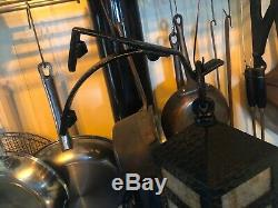 Pair Antique Arts and Crafts Slag Glass Light Shade Fixture Sconces