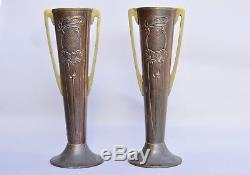 Pair Art Nouveau Arts Crafts Beldray Copper and Brass Vase Vases 26cm Antique