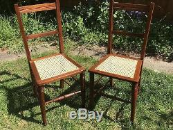 Pair Of Arts And Crafts Oak Cane Chairs Bedroom Hall Rattan Antique Retro Dining