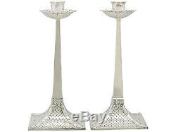 Pair of Sterling Silver Candlesticks Arts and Crafts Style Antique Edwardian