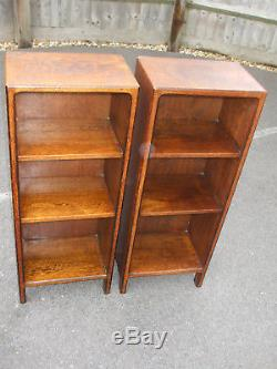 Pair of antique oak bookcases, solid and substantial, later Arts & Crafts period