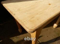 Pine table with drawers. Solid pitch pine. Antique. Arts and Crafts