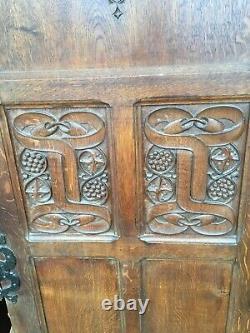 Pr Antique Double Oak Doors Arts And Crafts Movement Superb Looking £475