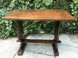 Primitive Antique Trestle Table Arts and Crafts Oak Jointed Hall Console Table
