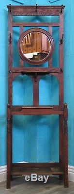 Quality Antique 1920s Arts And Crafts Solid Oak Decorative Hall Stand