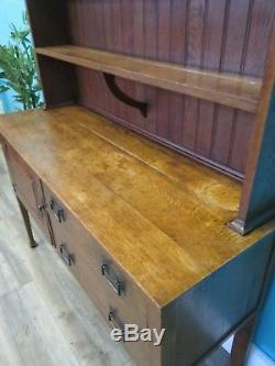 Quality Antique Solid Oak Arts And Crafts Country House Stain Glass Dresser