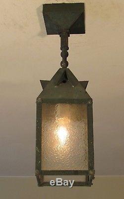 RESTORED! Antique Exterior Mission Arts and Crafts Copper Porch Light Fixture L4