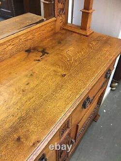 Rare Antique Solid Golden Oak Arts And Crafts Art Nouveau Dresser Superb Quality