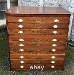 Rare Arts And Crafts Antique 9 Drawer Plan Artists Chest Delivery Available