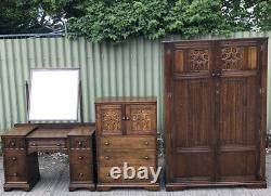 Rare Arts And Crafts Carved Oak 3 Piece Bedroom Suite London Maker We Deliver