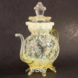 Rare Arts and Crafts John Walsh Walsh Vaseline Glass Teapot