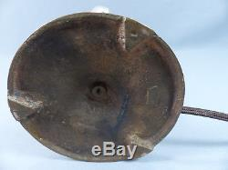Rare E T Hurley Arts and Crafts Bronze Seahorse Abalone Seashell Shade Lamp 1915