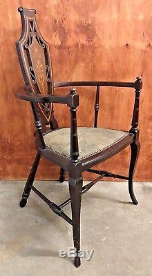 Rare Early Victorian Antique Arts And Crafts Mahogany Elbow Chair Hepplewhite